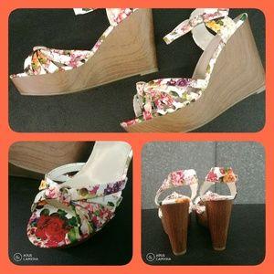 Fergalicious Floral Wedge Heels - Size 8.5M